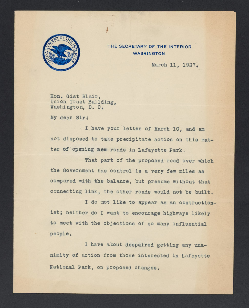 Hubert Work to Gist Blair Letter, March 11, 1927