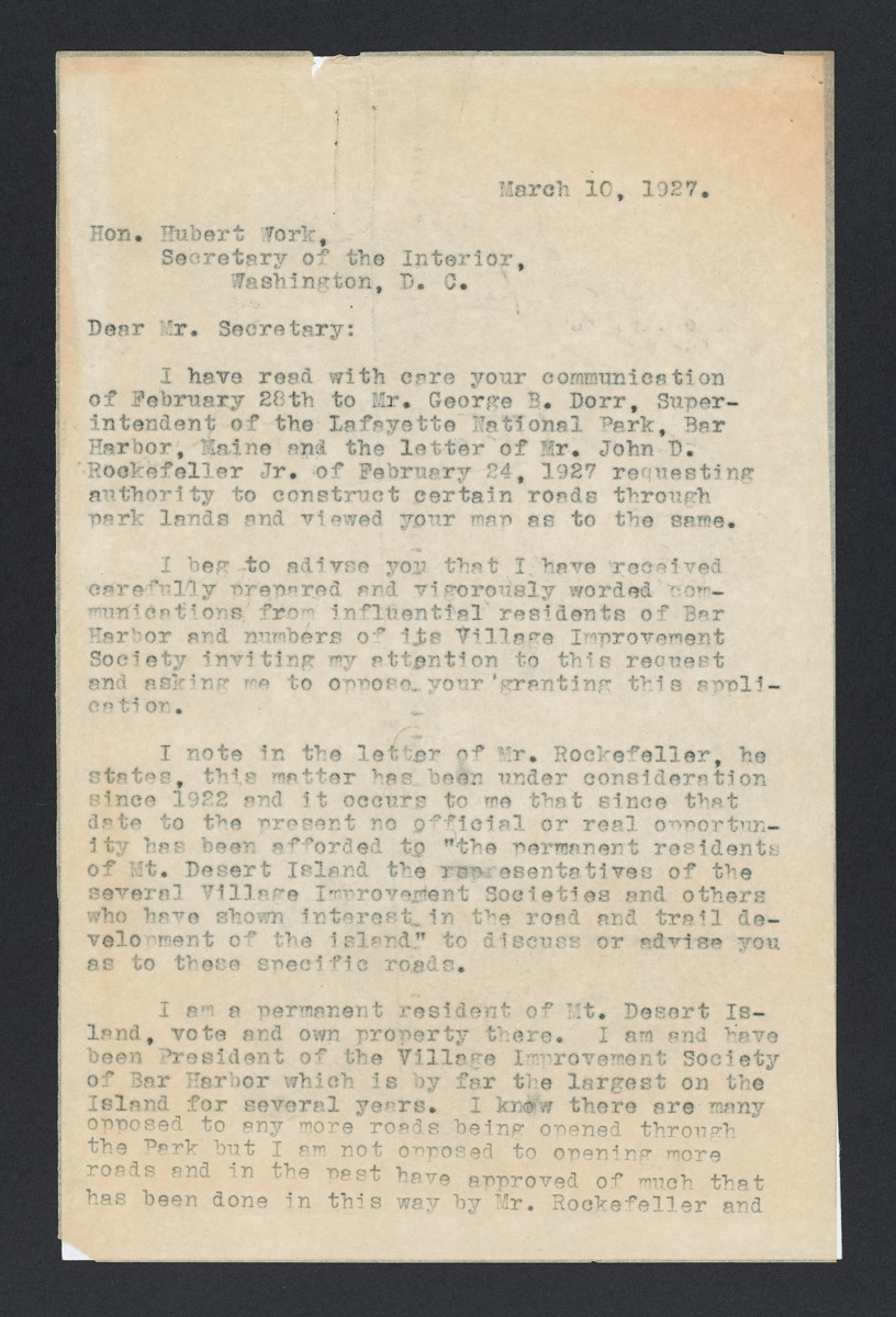 Gist Blair to Hubert Work Letter, March 10, 1927