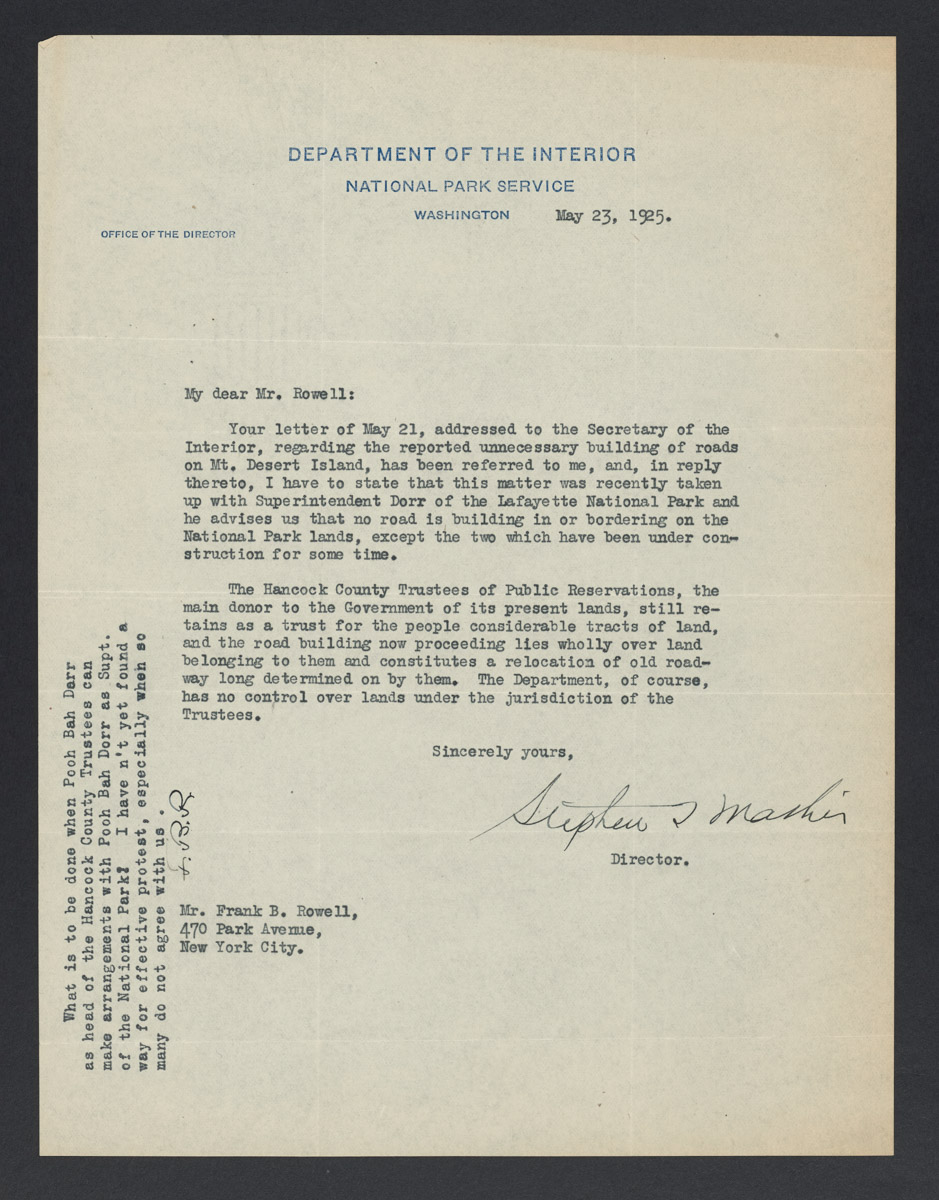 Stephen Mather to Frank B. Rowell Letter, May 23, 1925