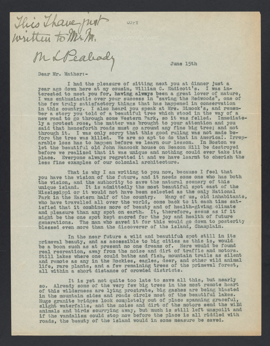 M. L. Peabody to Stephen Mather Letter, undated (Copy 1)