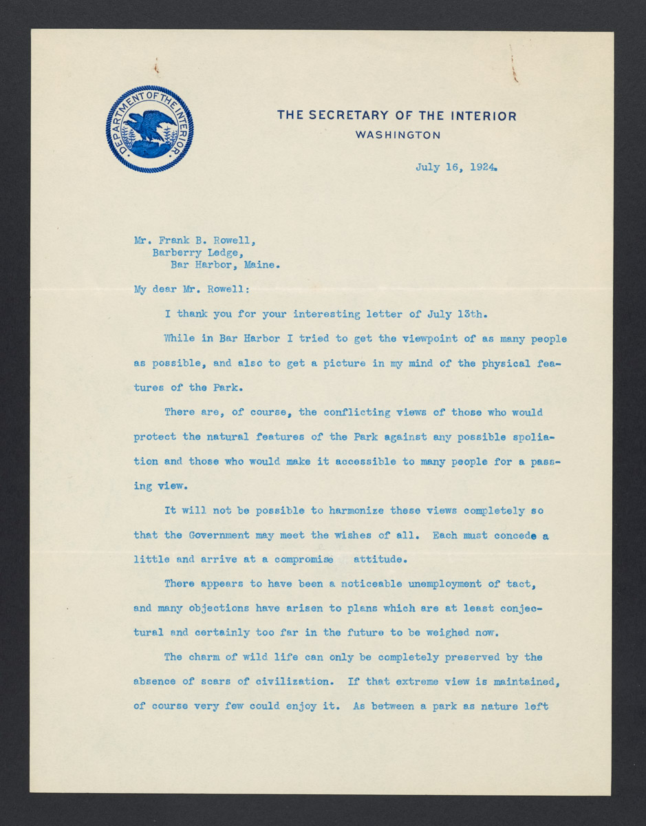 Hubert Work to Frank B. Rowell Letter, July 16, 1924