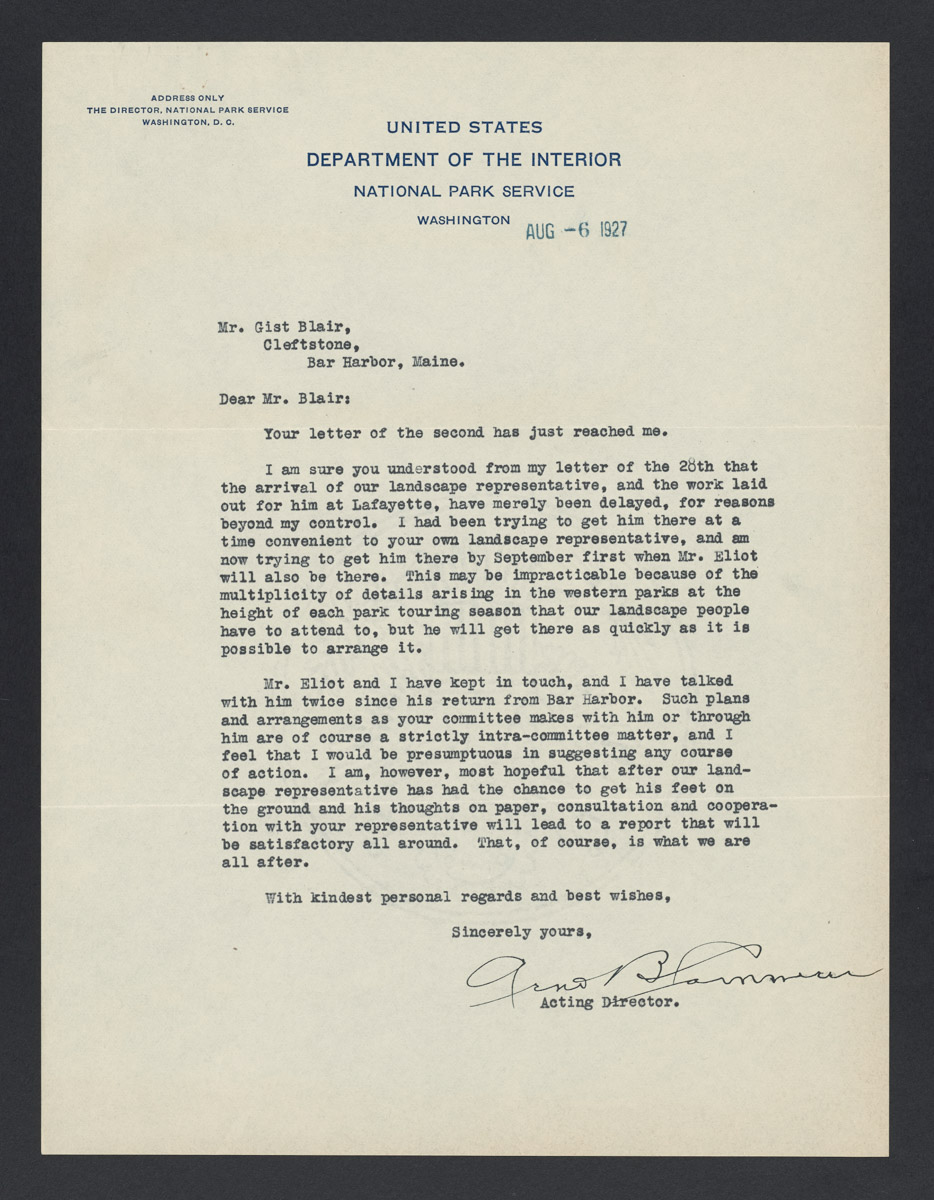 Arno B. Cammerer to Gist Blair Letter, August 6, 1927