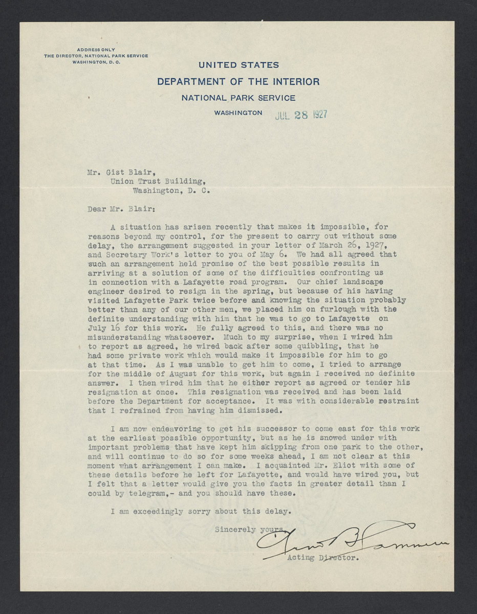 Arno B. Cammerer to Gist Blair Letter, July 28, 1927