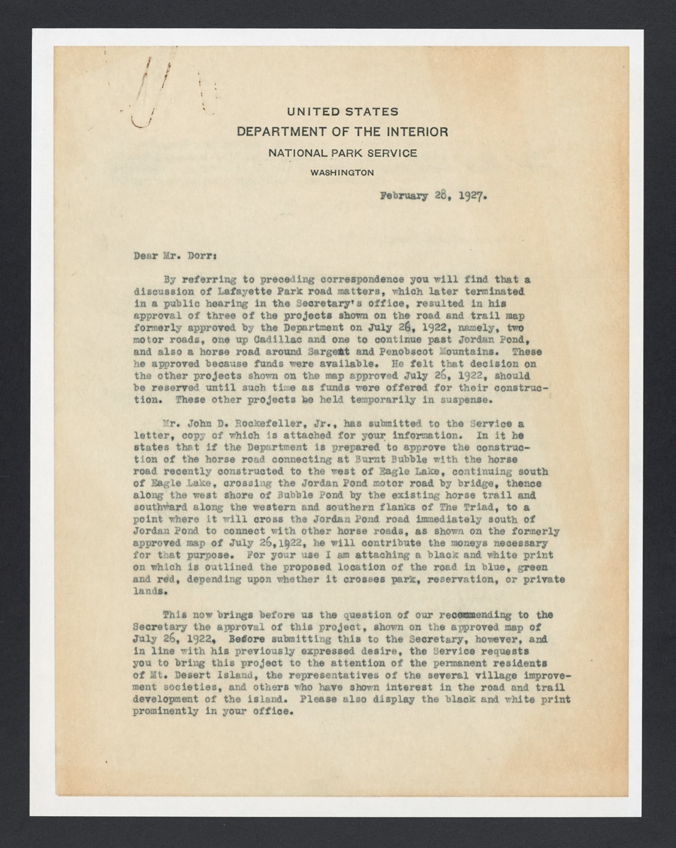 Arno B. Cammerer to George B. Dorr Letter, February 28, 1927 (1)