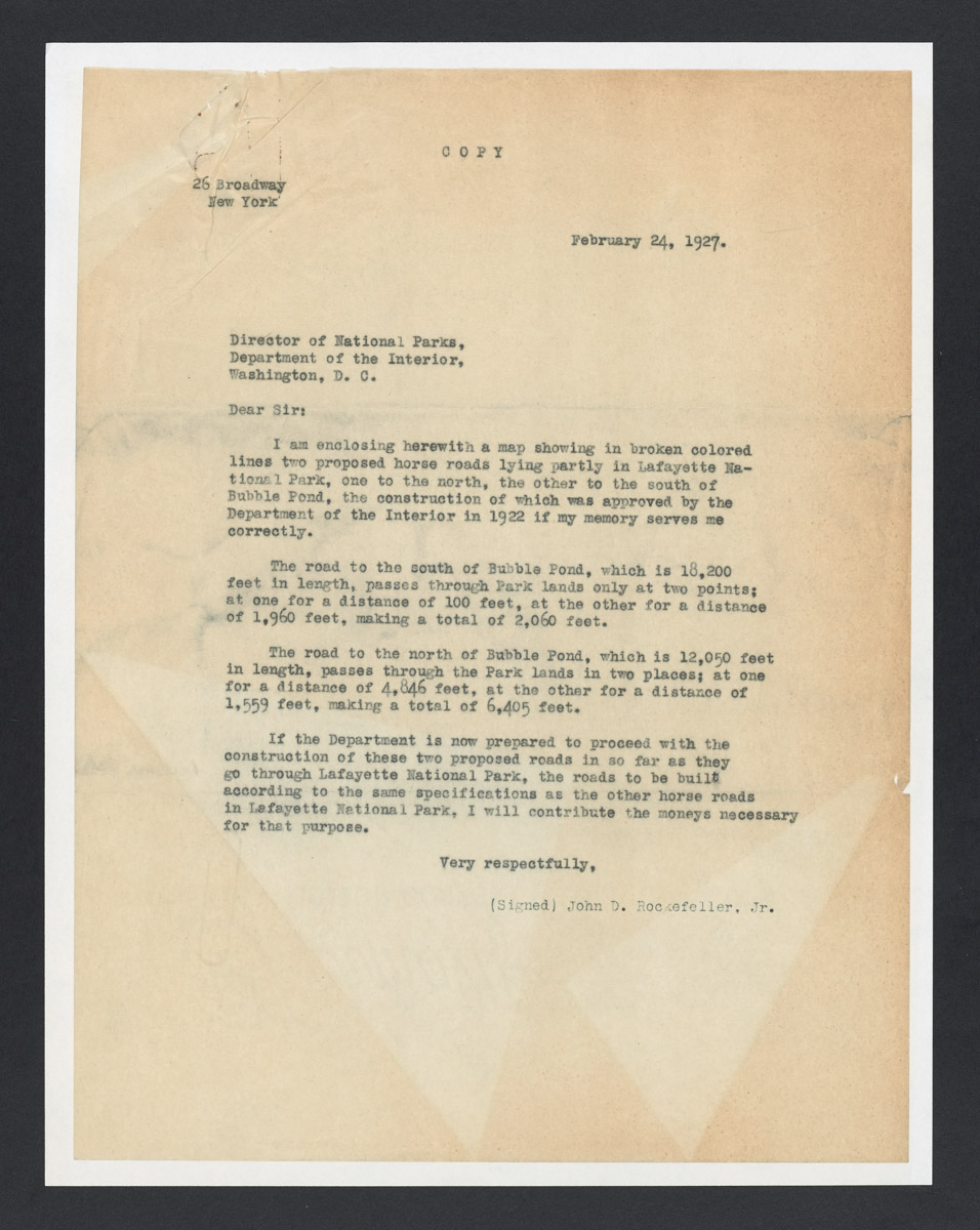 John D. Rockefeller Jr. to Director of the National Parks, Department of the Interior Letter, February 24, 1927 (2)