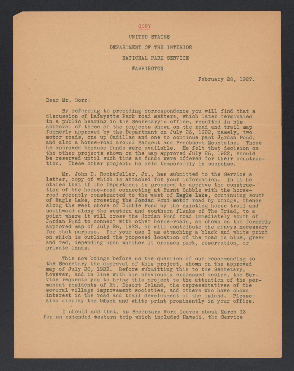 Arno B. Cammerer to George B. Dorr Letter, February 28, 1927 (2)