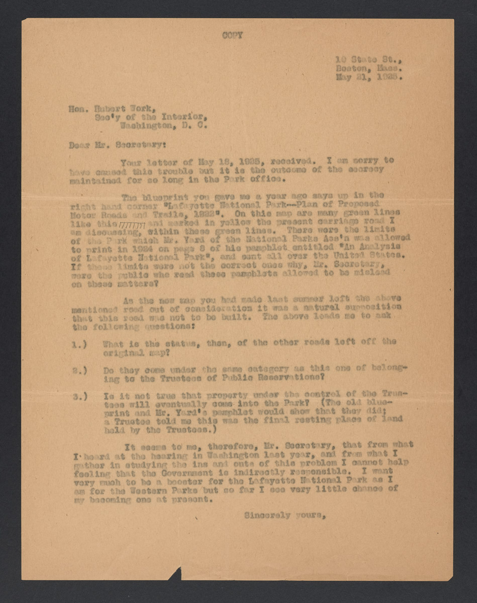 Harold Peabody to Hubert Work Letter, May 21, 1925