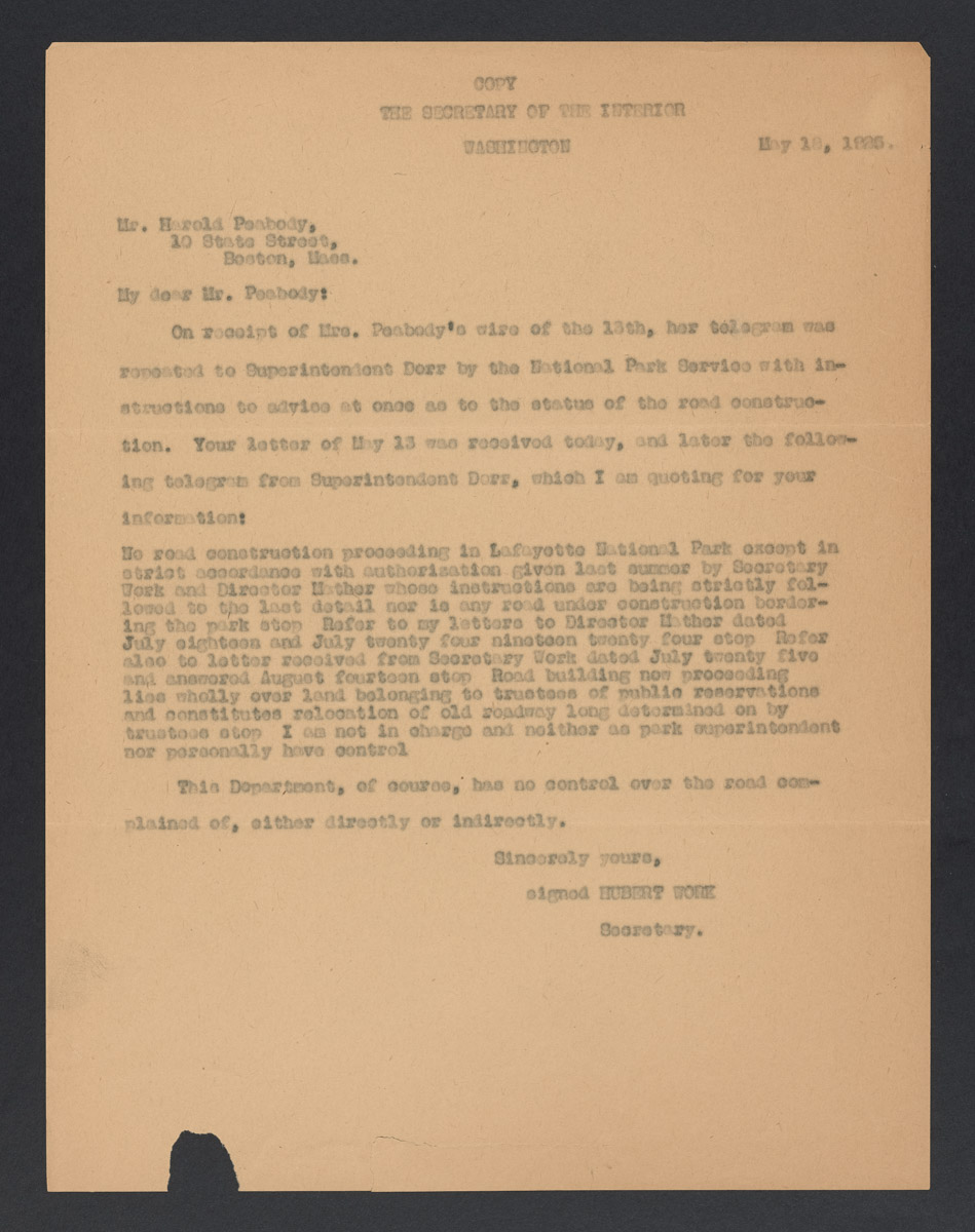 Hubert Work to Harold Peabody Letter, May 18, 1925