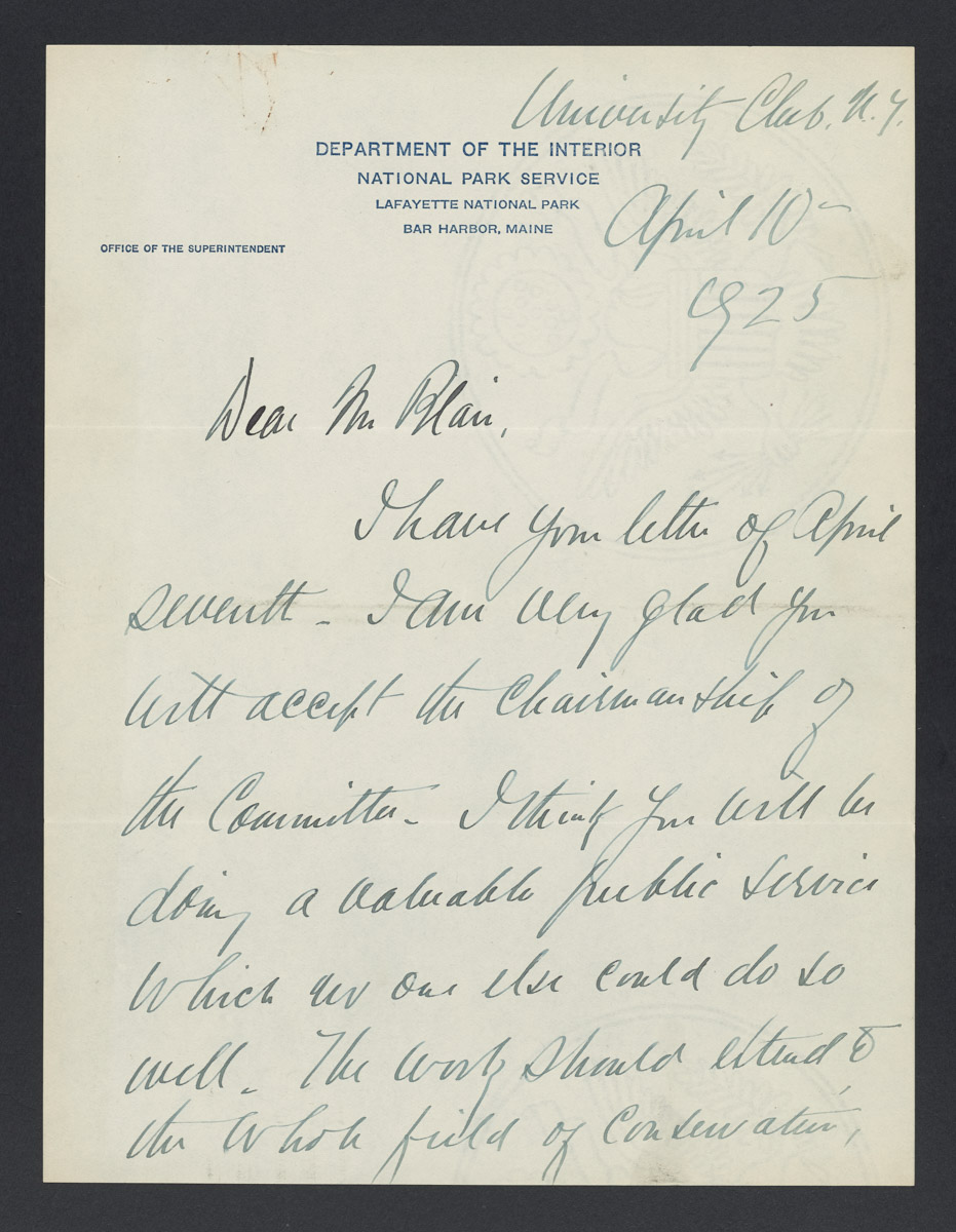 George B. Dorr to Gist Blair Letter, April 10, 1925