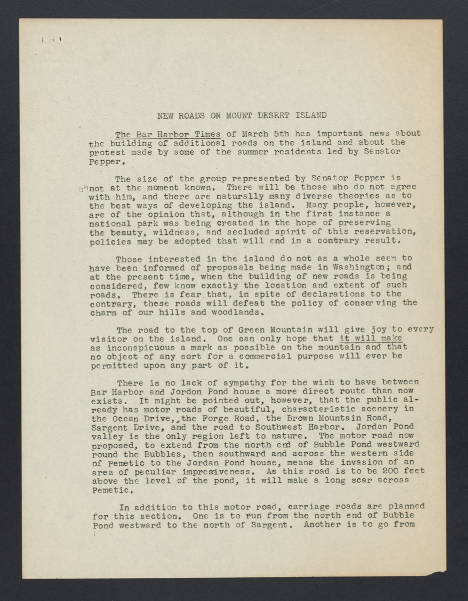 New Roads on Mount Desert Island Petition, c. March 26, 1924