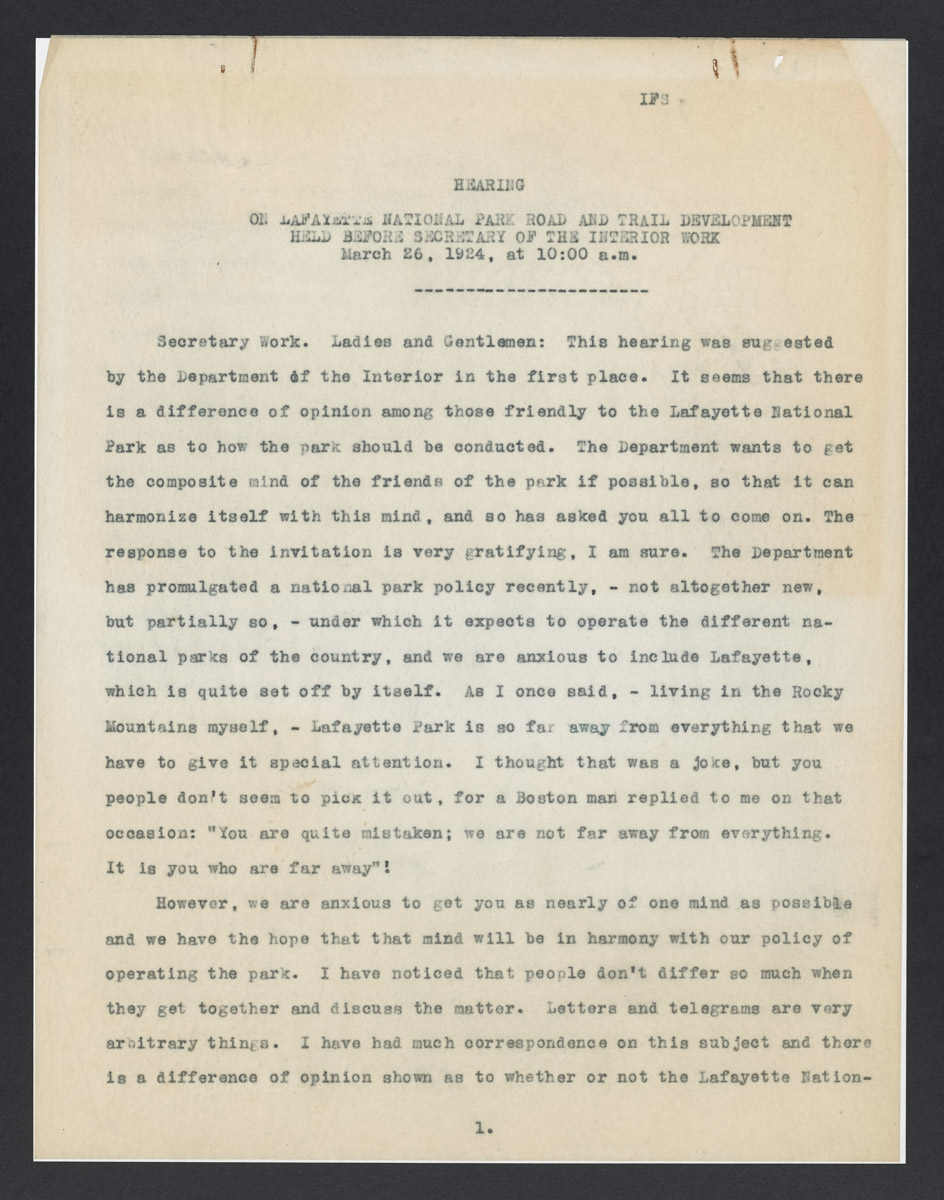 Hearing on Lafayette National Park Road and Trail Development Held Before Secretary of the Interior Work Transcription, March 26, 1924
